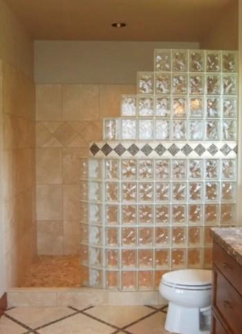 Amazing glass brick shower division design ideas 21