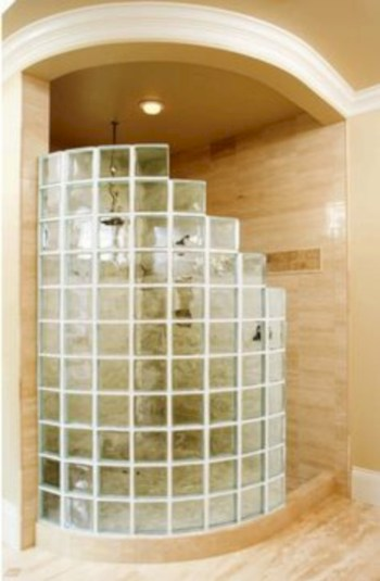 Amazing glass brick shower division design ideas 36
