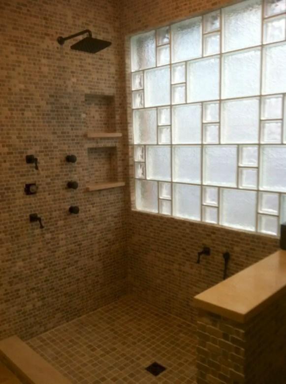Amazing glass brick shower division design ideas 41