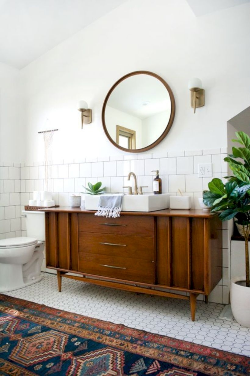 Best modern vintage bathroom reveal 17