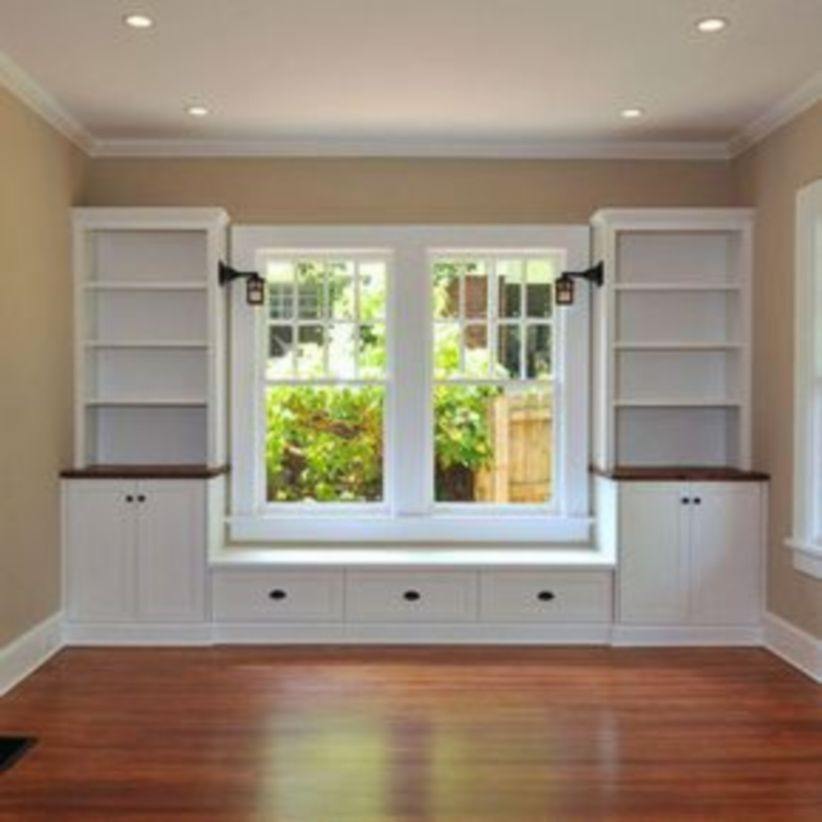 Built-in bench for your basement design ideas 38