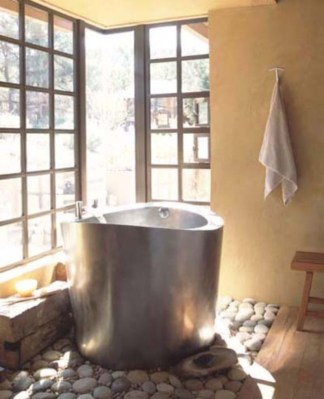 Creative bathroom with soft stone floor to massage your feet 08