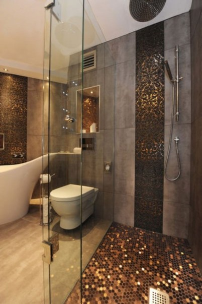 Creative bathroom with soft stone floor to massage your feet 20