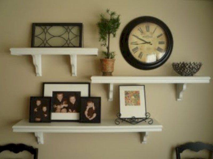Diy wall shelves ideas for living room decoration 43