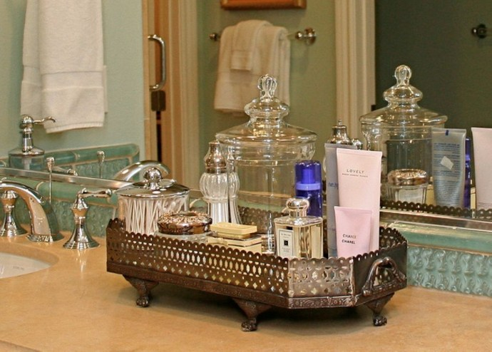 Easy diy footed vanity tray 25