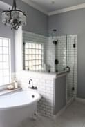 Half wall shower for your small bathroom design ideas 13