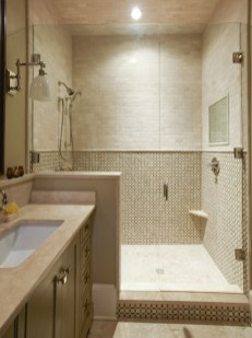 Half wall shower for your small bathroom design ideas 32