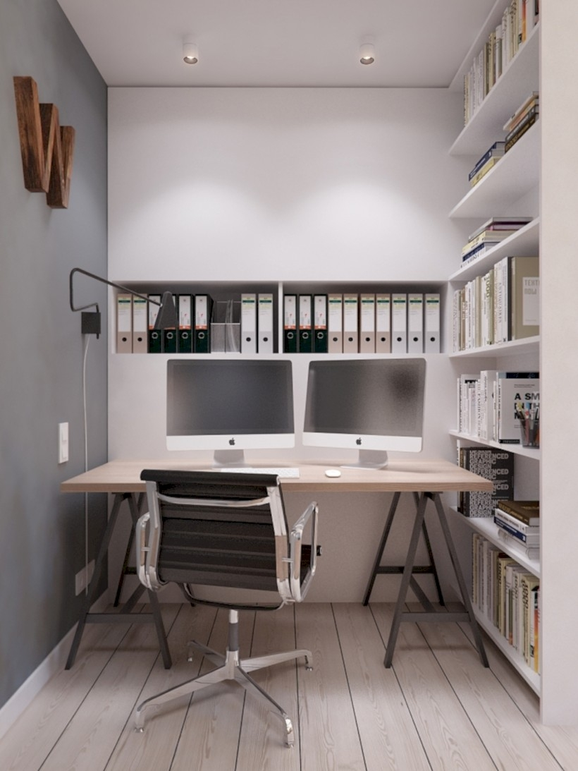 Neat and clean minimalist workspace design ideas for your home 19