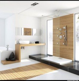 Nice and minimalist bathroom with the glass wall with a concrete 04