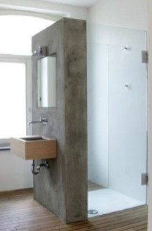 Nice and minimalist bathroom with the glass wall with a concrete 22