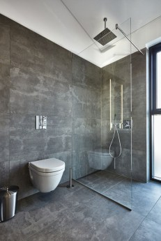 Nice and minimalist bathroom with the glass wall with a concrete 23