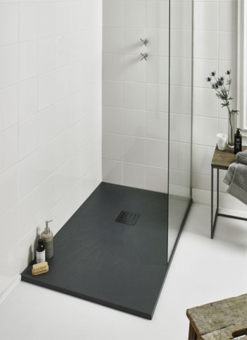 Nice and minimalist bathroom with the glass wall with a concrete 26