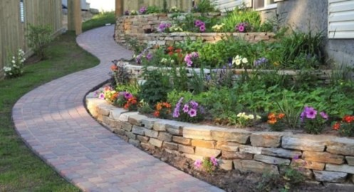 Outdoor garden decor landscaping flower beds ideas 12