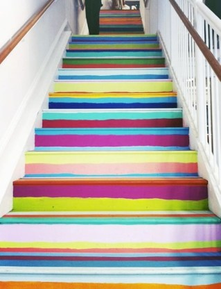 Painted staircase ideas which make your stairs look new 34