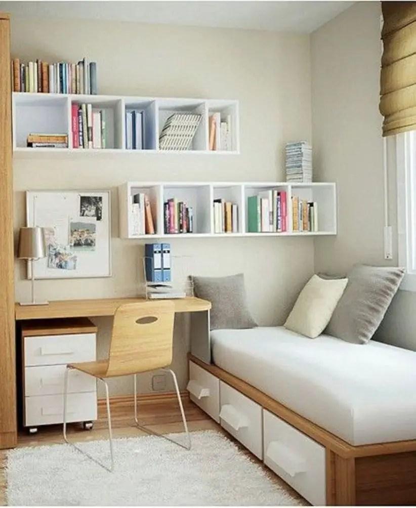 Stunning bookshelves ideas for bedroom decoration 33