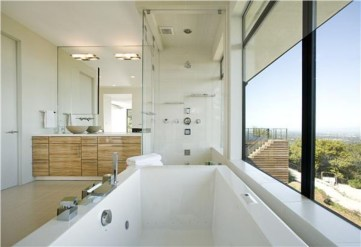 Stunning wood accents to refresh your bathroom 05