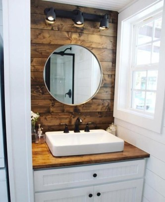 Stunning wood accents to refresh your bathroom 08