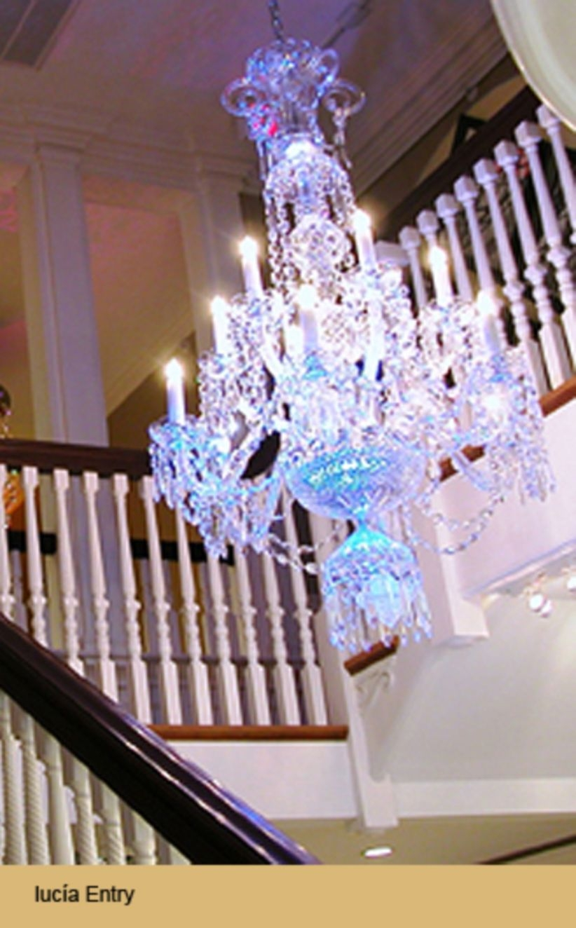 Ways to decorate with chandelier over the stairs 10