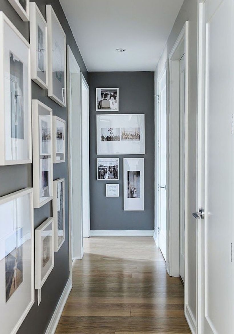 White wall and picture frames in hallway decorating ideas 03