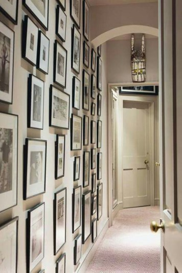 White wall and picture frames in hallway decorating ideas 12