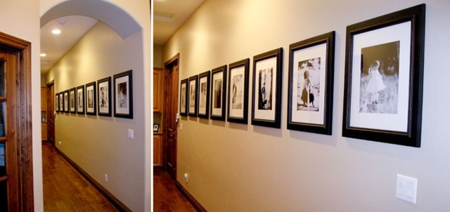 White wall and picture frames in hallway decorating ideas 17