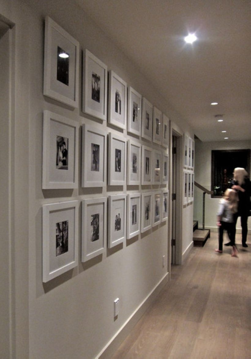 White wall and picture frames in hallway decorating ideas 25