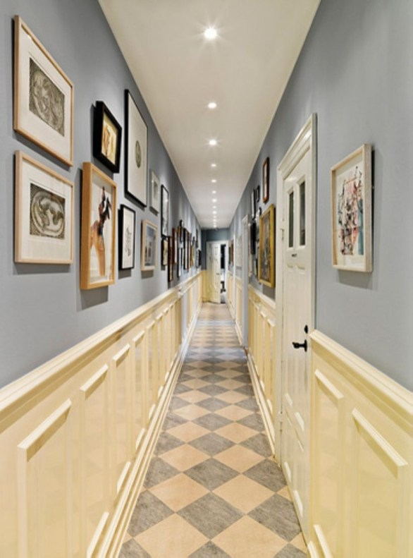 White wall and picture frames in hallway decorating ideas 27