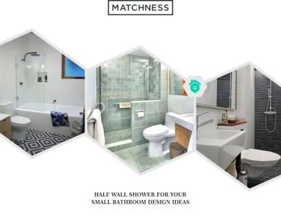 19. half wall shower bathroom