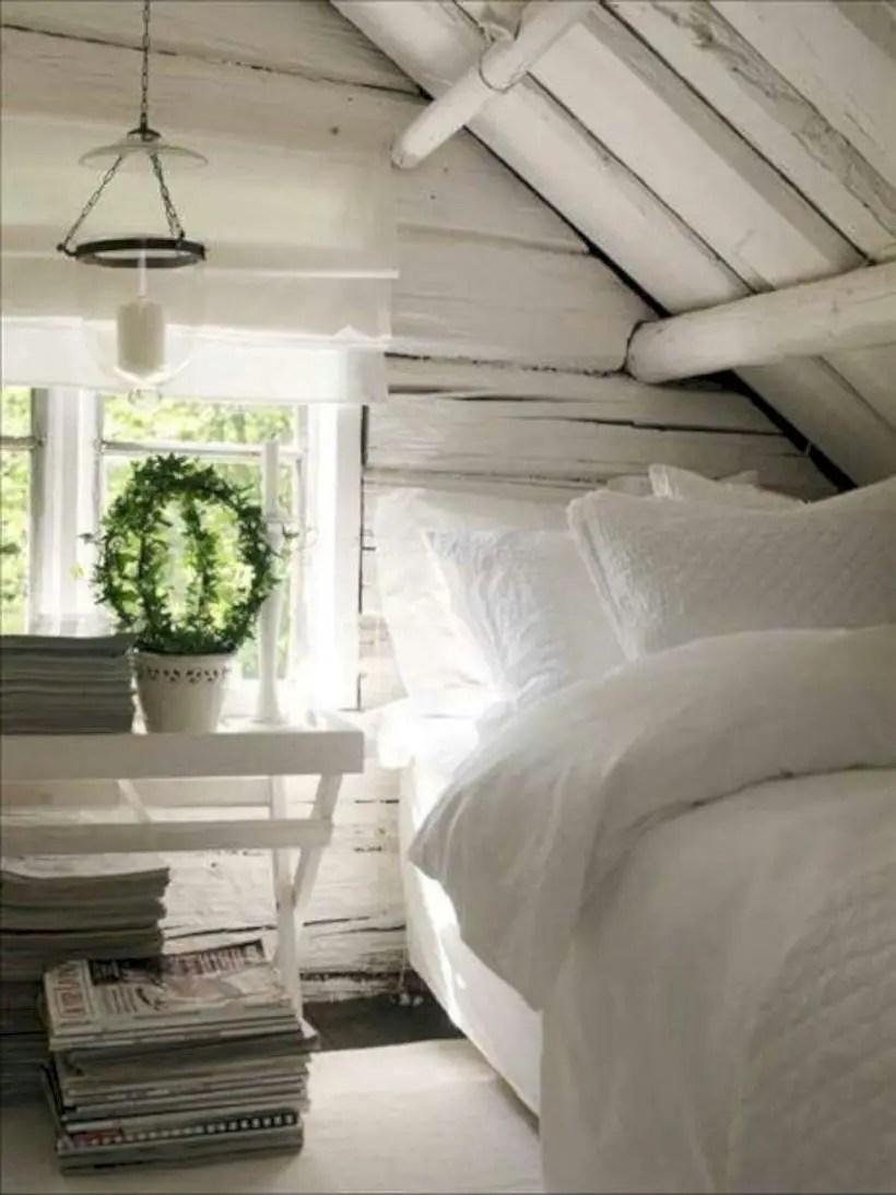 Attic bedroom shabby white
