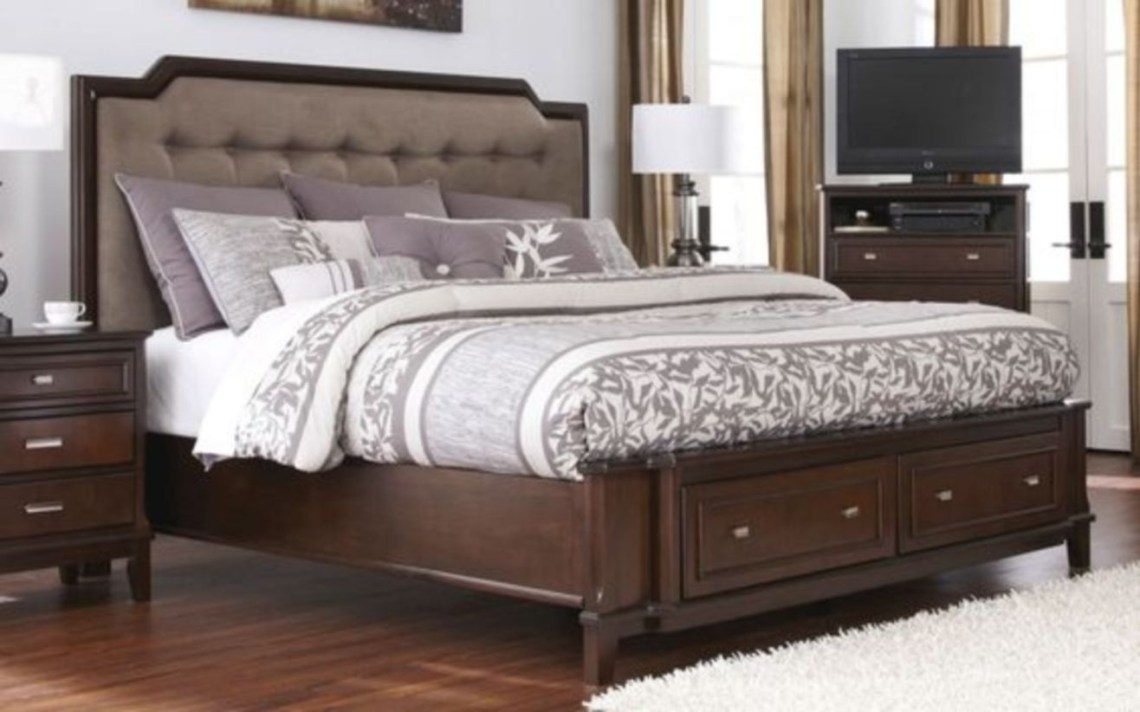 Bedroom, amusing king size storage bed with grey