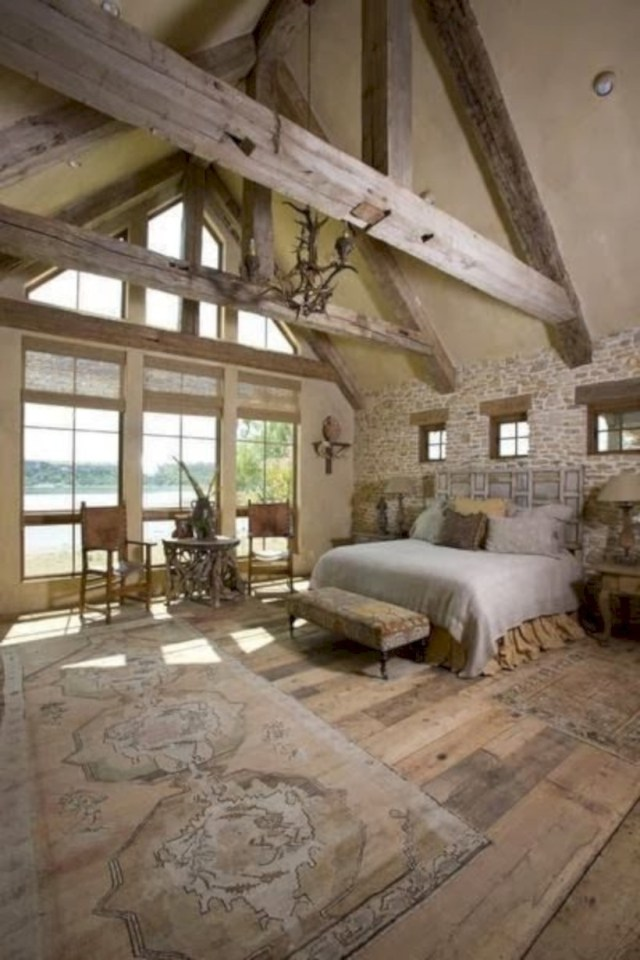 Bedroom with windows on the side