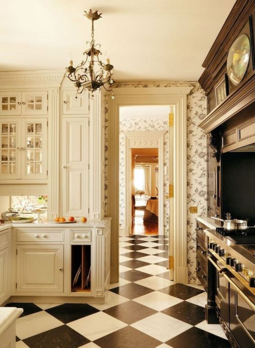 Black and white floor tile designs for kitchen