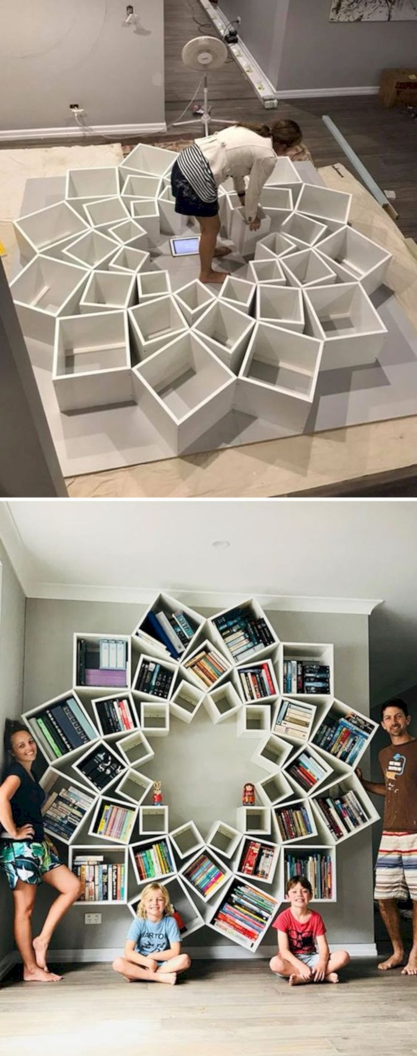 Builds diy bookshelf