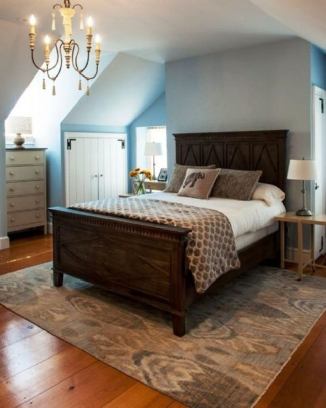 Classy farmhouse bedroom style king size elegant bed wooden