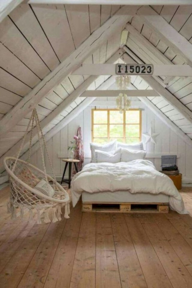 Cozy cottage style bedroom in the attic