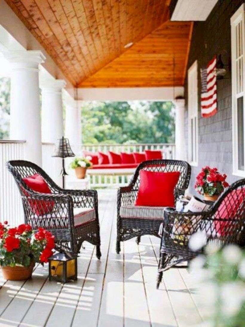 Dark brown wicker on porch with patriotic decor