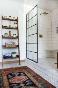 Floor tile and shower door for bathroom