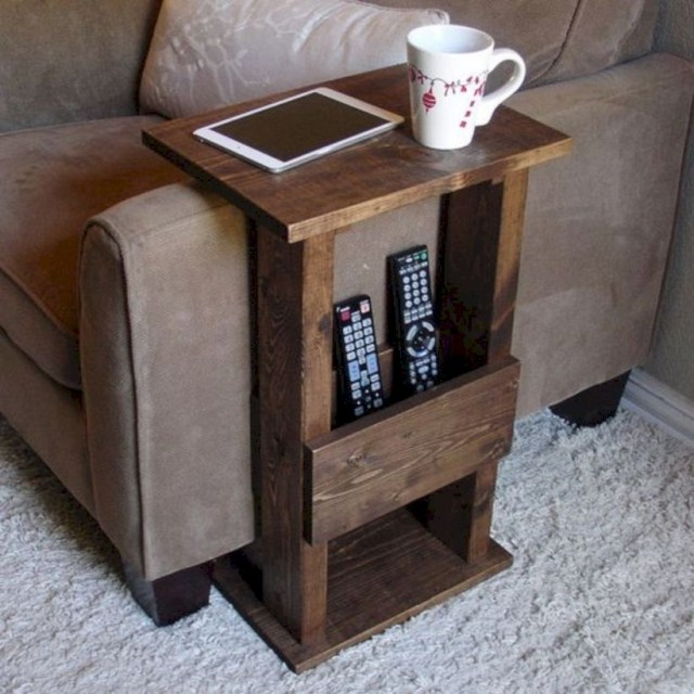 Handcrafted tray table stand with storage pocket