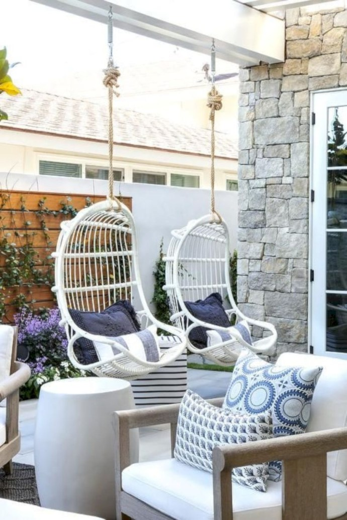 Hanging rattan chairs