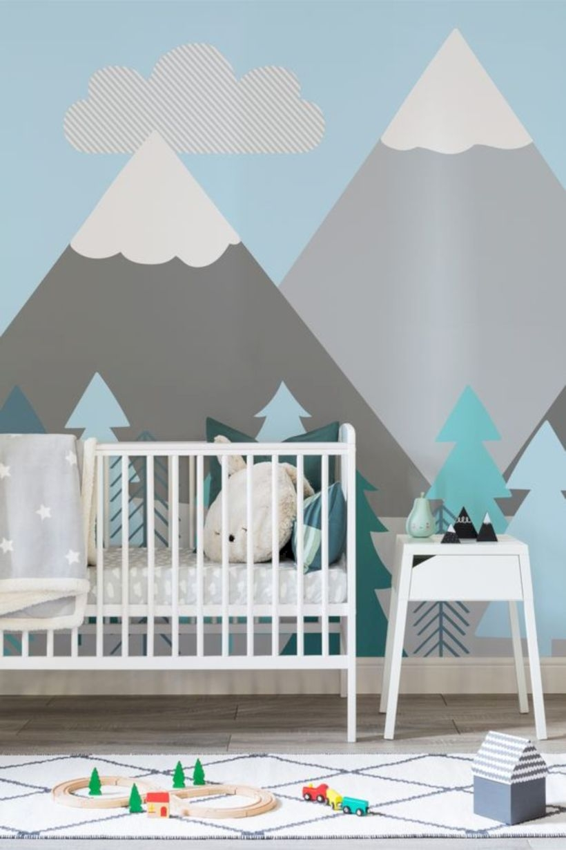 Kids mountains and trees wall mural