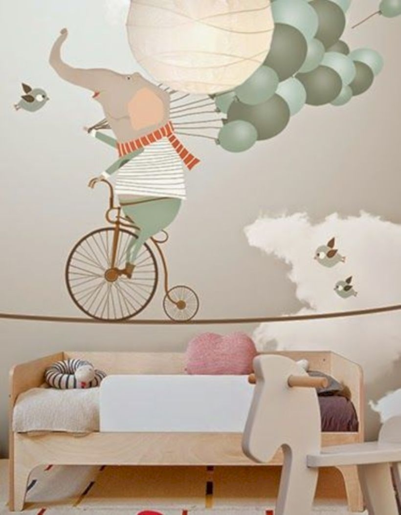 Little hands wallpaper mural - elephant riding a bicycle