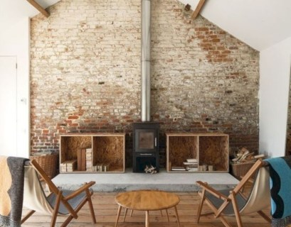 Living room exposed brick wall