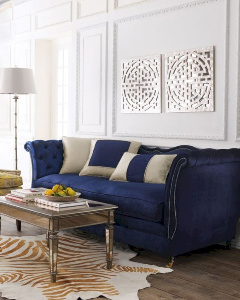 Living room with haute house horton navy velvet sofa