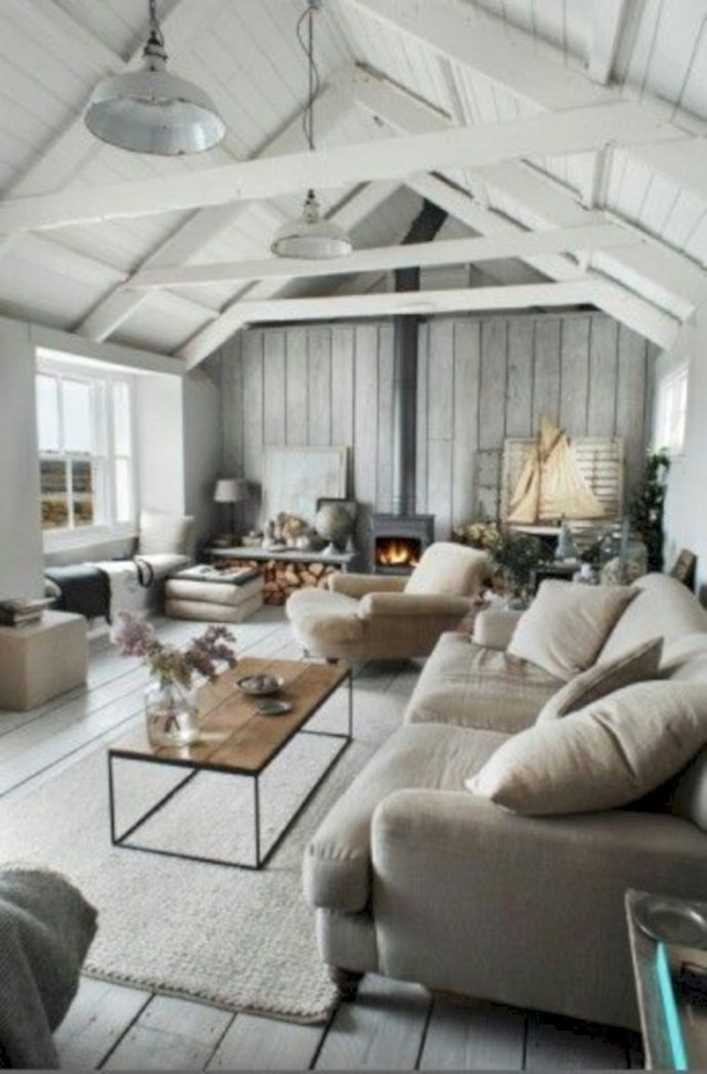 Living room with white paint on the ceiling