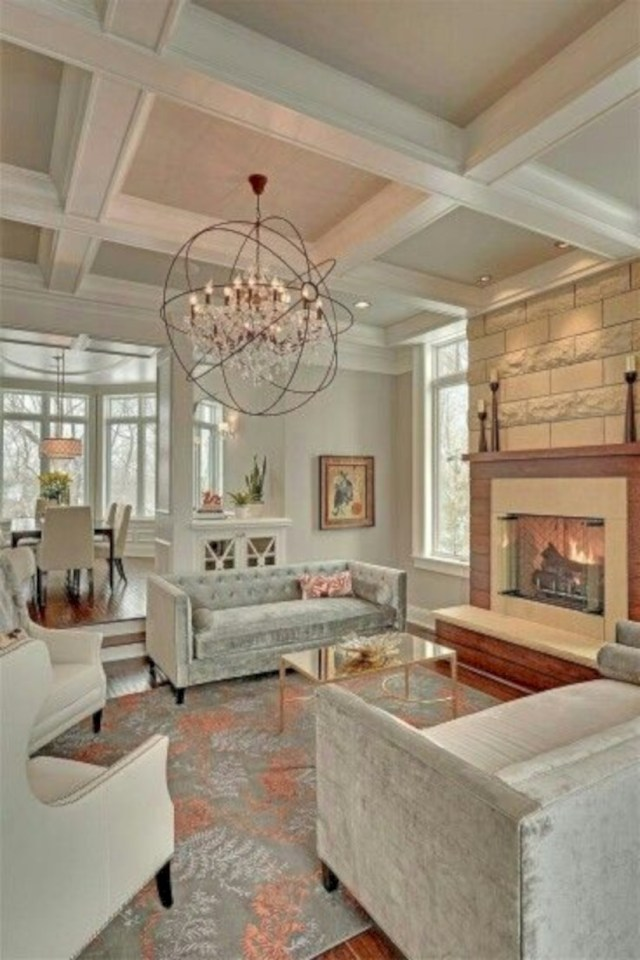 Living room with a coffered ceiling decoist