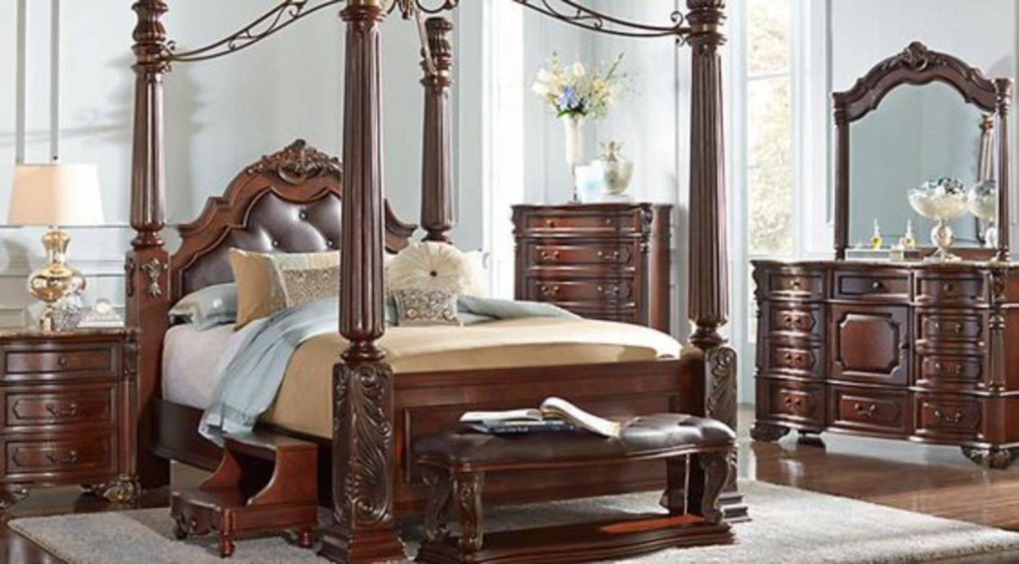 Luxury king size bed with wooden frame