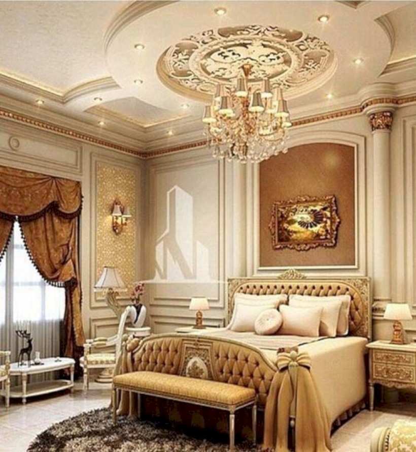 Master bedroom with gold accent