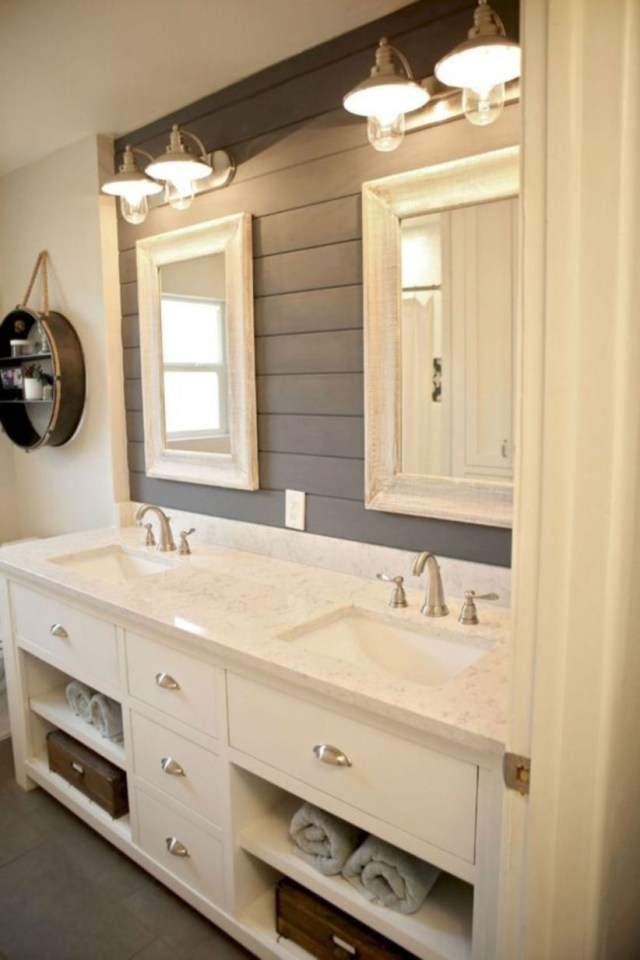 Modern farmhouse bathroom decor ideas with cabinets designs