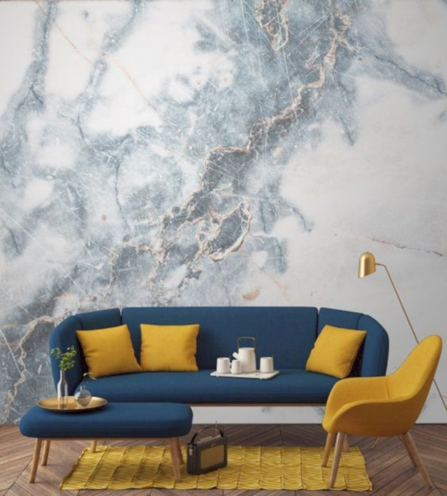 Our deep blue clouded marble wall mural in the living room