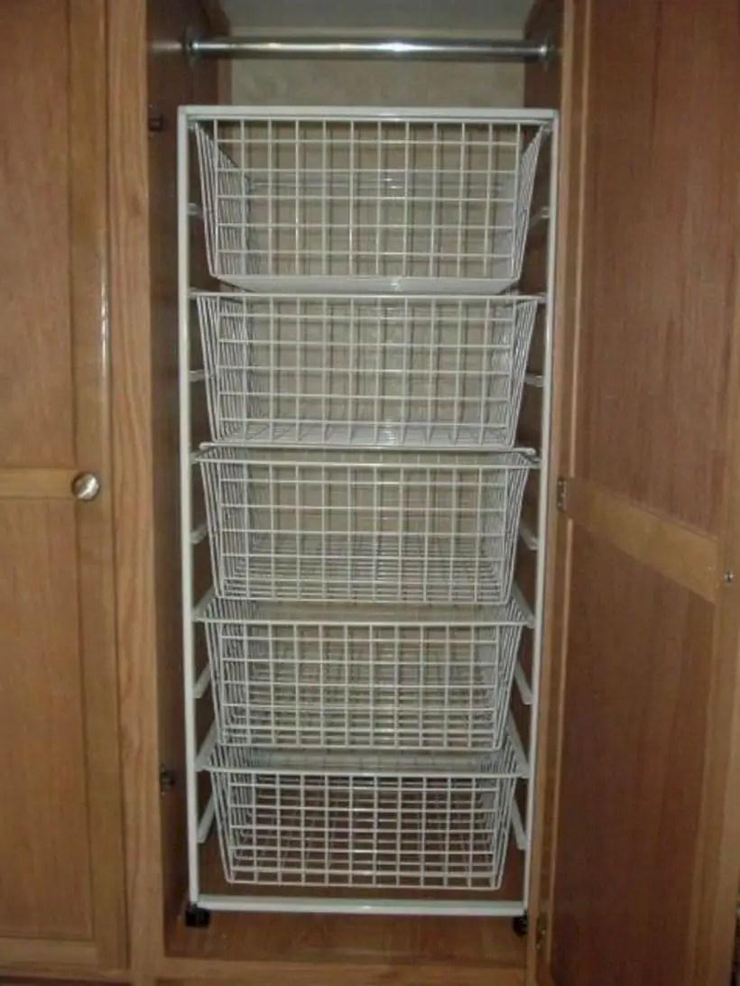 Rv closet shelves and wire baskets